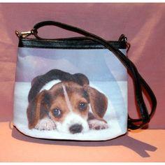 Sac à mains en simili cuir avec motif beagle.