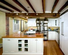 white ceiling with beams | Dark-stained ceiling beams on a white background have a unique charm