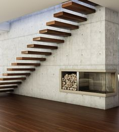 Wooden cantilevered staircase 800 by Interbau Suedtirol Treppen