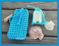 Turquoise Aqua Soap Saver Bag Crochet #Handmade Soap Lemongrass Lavender Gift Set #giftideas #weddings