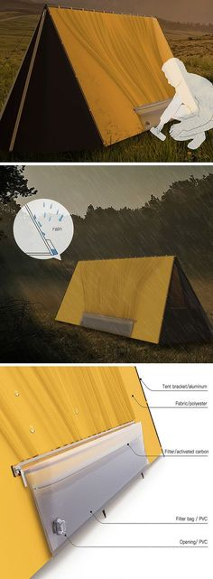 This might just look like your average tent but it's also a clever water collection tool. The tent fabric features built-in grooves that funnel rain water or dew into a reservoir with a convenient tap. The water can then be used for a variety of purposes from cleaning and cooking to filtering for consumption. With the Water-Collecting Tent, campers can rest assure they'll never be without at a least a little H2O!
