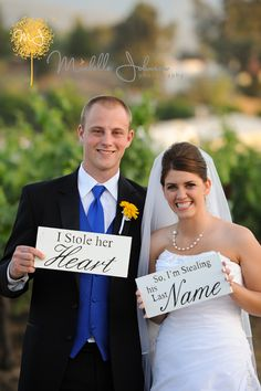 I stole her heart... So I'm stealing his last name. Wooden Wedding Signs.