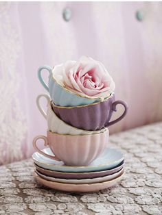 tea cups in soft pastel shades
