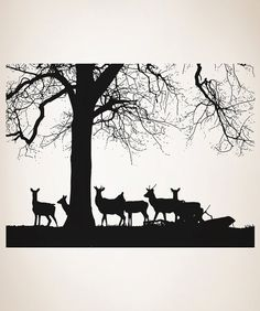 Vinyl Wall Art Decal Sticker Deers By Tree 5042s By Stickerbrand Part 28