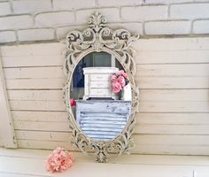Shabby Chic Antique White Vintage Oval Mirror by WillowsEndCottage
