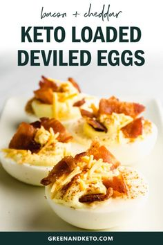 Loaded Keto Deviled Eggs with Cheddar and Bacon - Green and Keto Loaded keto deviled eggs with bacon have a creamy sour cream filling, with cheddar cheese and bacon. They are the low-carb appetizer to bring to a holiday party! Low Carb Recipes, Real Food Recipes, Diet Recipes, Cookie Recipes, Party Recipes, Food Tips, Recipes Dinner, Lunch Recipes, Queso Cheddar
