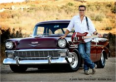 Eddie Van Halen and his classic '50s Chevy.... Damn the guitar even matches