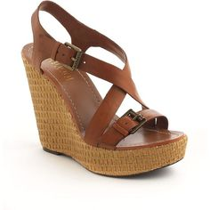 LAUREN RALPH LAUREN Dover Leather Platform Wedge Sandals (1.475 RUB) ❤ liked on Polyvore featuring shoes, sandals, wedges, heels, zapatos, brown, platform sandals, brown leather sandals, low heel wedge sandals and wedges shoes