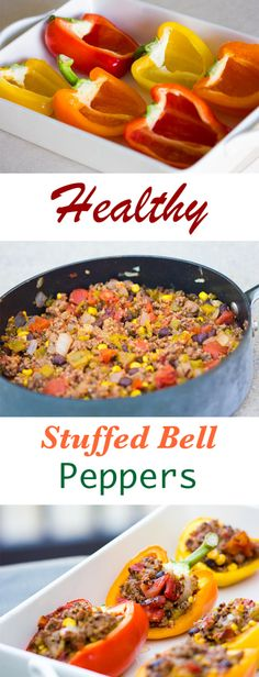 Healthy Stuffed Bell Peppers Recipe: made with healthy ingredients, easy to make, and delicious. ground turkey or ground beef. low carb and made with quinoa