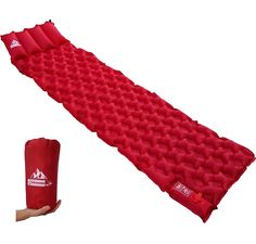OutdoorsmanLab Ultralight Sleeping Pad with Built-in Pillow and Air Pump For Camping Backpacking, Travel -- Startling review available here : Backpacking gear