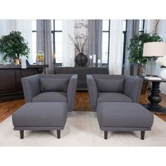 Elements Fine Home Furnishings Manhattan 4-Piece Set Including 2 Standard Chairs and 2 Standard Ottomans In Concrete