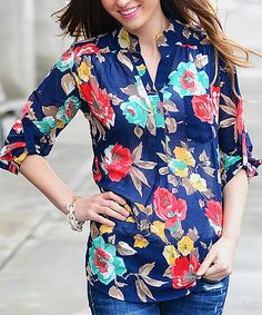 Another great find on #zulily! So Perla Navy Floral Button-Up Top by So Perla #zulilyfinds