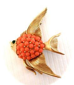Vintage Trifari Fish Brooch by Vintageimagine on Etsy