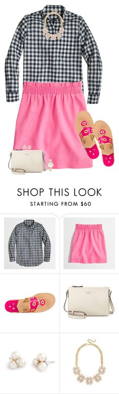 """""""Preppy J.Crew Outfit"""" by sc-prep-girl on Polyvore featuring J.Crew, Jack Rogers, Kate Spade, CLUSE and miniskirts"""