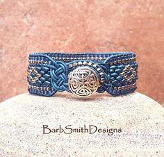 """Blue and Silver Celtic Bracelet-Beaded Leather Bracelet-Wrap Bracelet-Southwest Jewelry-Celtic Knots-""""The Knotty One"""" in Double Denim (FRD) Celtic Bracelet, Bracelet Wrap, Beaded Bracelets, Leather Cuffs, Leather Jewelry, Leather Cord, Turquoise, Cute Jewelry, Jewlery"""