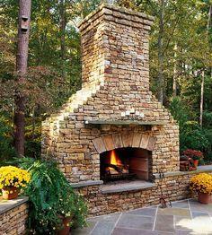Amazing outdoor fireplace #modernyardfireplaces