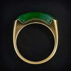Gents Burmese Saddle Jade Ring