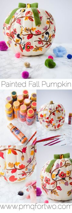 DIY Painted Fall Pumpkin - PMQ For Two Painting your own Rifle Paper Co. inspired fall pumpkin is super easy with these step-by-step painting instructions and videos. Come see how I made THE pumpkin of the season. Fall Pumpkins, Halloween Pumpkins, Halloween Crafts, Holiday Crafts, Holiday Fun, Halloween Decorations, Hallowen Food, Painted Pumpkins, Painting Pumkins Ideas