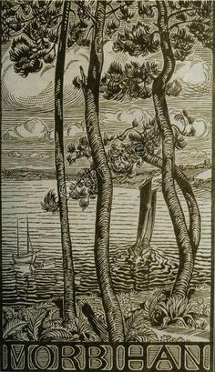 Recto View through trees of boats sailing in bay. Woodcut, on oriental paper © The Trustees of the British Museum Conceptual Art, British Museum, Printmaking, Sailing, Greece, Vintage World Maps, Oriental, Moose Art, Images