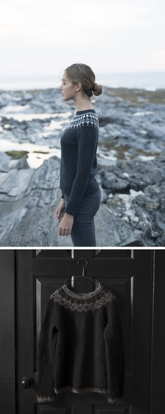 New Favorites: Dark yoke sweaters - Fringe Association Nordic Sweater, Poncho Sweater, Knit Sweaters, Norwegian Knitting, Icelandic Sweaters, Student Fashion, Fair Isle Knitting, How To Purl Knit, Dame