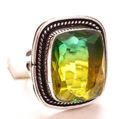 BI-COLOR-TOURMALINE-GEMSTONE-925-SILVER-JEWELRY-RING-8 Sterling Silver Jewelry, 925 Silver, Tourmaline Gemstone, Jewelry Rings, Rings For Men, Gemstones, Handmade, Color, Men Rings