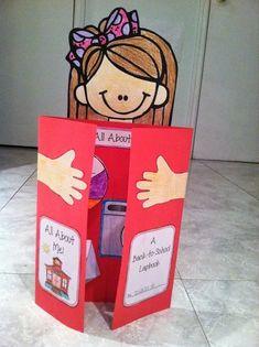 Teacher's Lounge: Back-to-School - Huh? All About Me Crafts, All About Me Book, All About Me Activities, Kindergarten First Day, Kindergarten Activities, Preschool Activities, School Projects, Projects For Kids, Crafts For Kids