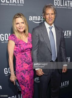 Michelle Pfeiffer and husband writer David E. Kelley attend the premiere of Amazon's 'Goliath' at The London West Hollywood on September 29, 2016 in West Hollywood, California