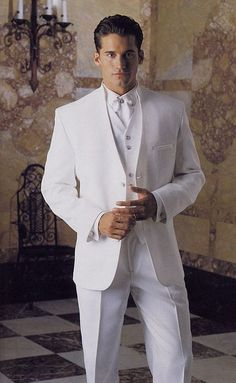 new arrival white wedding suits for men stand collar tuxedos ivory mens suits slim fit men suits suits Modern suits Formal suits Prom suits modern suits vintage White Wedding Suits For Men, White Suits, Wedding Men, White Tuxedo Wedding, Wedding Attire, Wedding Dinner, White Prom Tux, Formal Tuxedo, Wedding Tuxedos