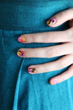 3 Rockin' Coachella-Worthy Nail-Art DIYs #refinery29  http://www.refinery29.com/coachella-nail-art-designs#slide8  It's vacation in a manicure! Mix things up and keep it unique by doubling up on palm trees on two of the nails and leaving two other nails tree-free, or go full-on fronds and add palms to each digit.     Photographed by Laura Miller