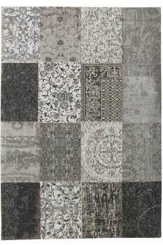 Vintage Kelim Tapijt Black and White 8101