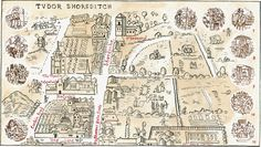Adam Dant - Map of Tudor Shoreditch - part of a series of maps illustrating the changes to Shoreditch throughout history