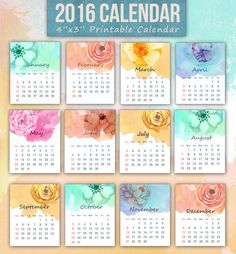 A set of printable 12-month mini 2016 calendar featuring watercolor floral…