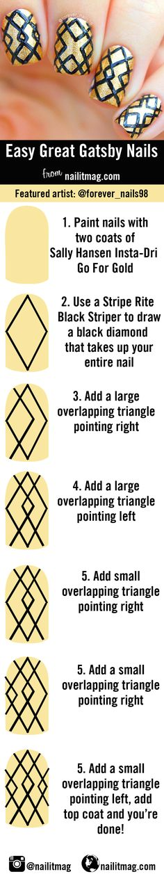 5 easy nail designs made of just straight lines @forever_nails98