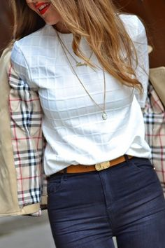 Monochrome white check blouse