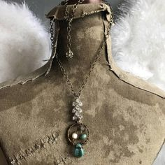 Vintage bohemian dreamcatcher assemblage necklace ooak by Alpha Female Studio