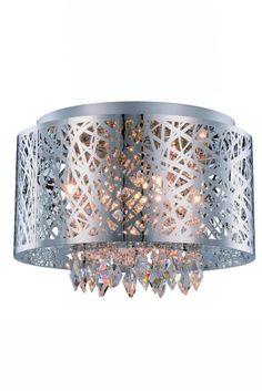 "Finley Collection Pendant/Flush Mount D:16"" H:10"" Lt:7 Chrome & Crystals #ElegantLighting"