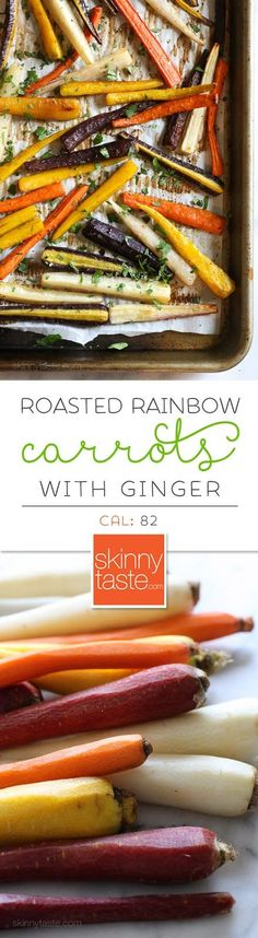 Roasted Rainbow Carrots with Ginger