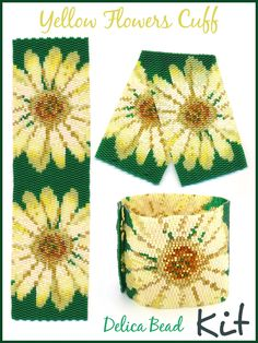 Yellow Flowers 2-Drop Peyote Wide Cuff Delica Seed Bead Bracelet DIY KIT