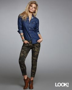 Never had the hots for camo but LOVE Bar Refaeli's in this look. The zipper detail at the ankle is everything and pairs great with a denim skirt.