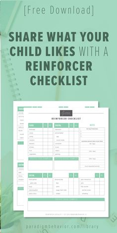 Use this reinforcer checklist to determine what your child's top motivating activities are. These activities are great motivators when you are teaching new skills and reducing behavior problems.
