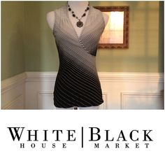 "White House Black Market Crossover Top Simply Beautiful and quality at its finest!!!  Gathers around the ""V"" neck crossover. You will LOVE this top!!!  Excellent condition.  Firm. Bundle and save!!! White House Black Market Tops"