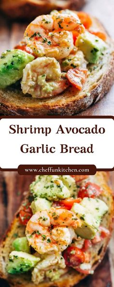 Garnelen-Avocado-Knoblauch-Brot - What to eat - Shrimp Dishes, Shrimp Recipes, Fish Recipes, Appetizer Recipes, Appetizers, Garlic Recipes, Avocado Recipes, Dinner Recipes, Healthy Snacks