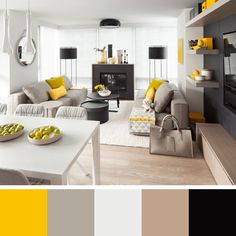 15 Stunning Scandinavian Living Room Designs To Upgrade Your Home With is out latest interior design collection from the Scandinavian style. Mobile Home Living, Home And Living, Living Room Designs, Living Room Decor, Dining Room, Living Area, Grey And Yellow Living Room, Contemporary Family Rooms, Modern Room