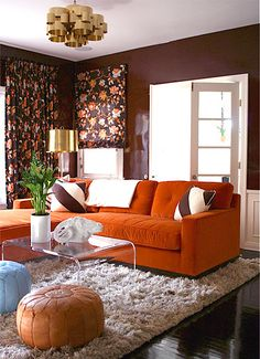 Molly Luetkemeyer Design Yummy Orange Couch Lacquered Walls Living Room Decor