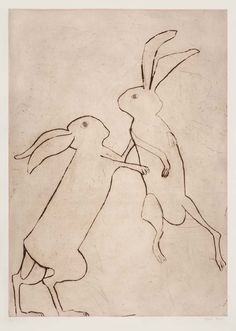 """kate boxer - Reminds me of a dear friend and her """"boxing hares"""" Lapin Art, Bunny Art, Bunny Drawing, Art Et Illustration, Limited Edition Prints, Painting & Drawing, Boxer, Contemporary Art, Artsy"""