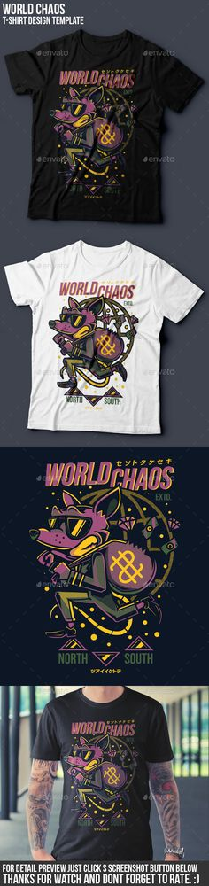 World Chaos #T-Shirt #Design - #Funny Designs Download here: https://graphicriver.net/item/world-chaos-tshirt-design/18858285?ref=alena994