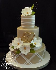 anniversary cake - - Flowers and leaves are gumpaste. Number topper provided by the client. Golden Anniversary Cake, 50th Wedding Anniversary Cakes, Wedding Cakes, Aniversary Cakes, Anniversary Flowers, Anniversary Decorations, Anniversary Ideas, Pretty Cakes, Beautiful Cakes