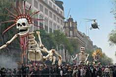 A scene from the Day of the Dead procession in Mexico City