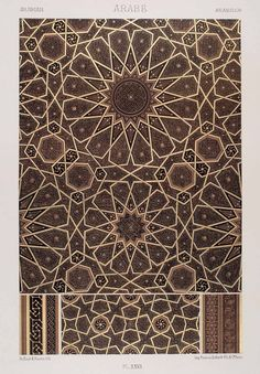 1875 Chromolithograph Geometric Pattern Islamic Art Arabic Design Motif Quran - Inspiration for SI Architects Geometric Patterns, Geometric Designs, Geometric Art, Textures Patterns, Arabic Design, Arabic Art, Islamic Art Pattern, Pattern Art, Arabian Pattern