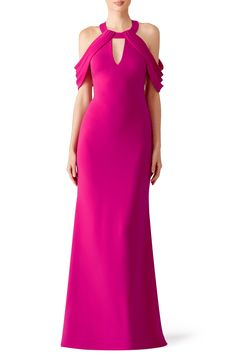 Rent Magenta Draped Gown by Badgley Mischka for $90 only at Rent the Runway.